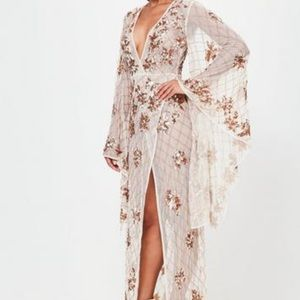 Missguided peace and love kimono gold dress